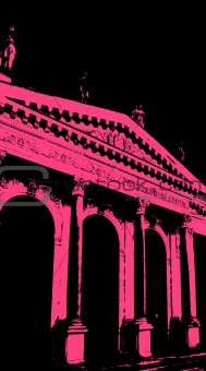 Old building with pink. Vector