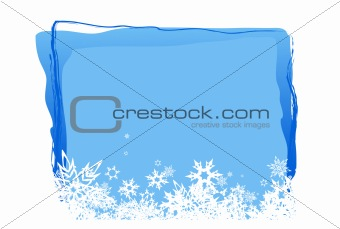 Blue board for text with white snowflakes. Vector