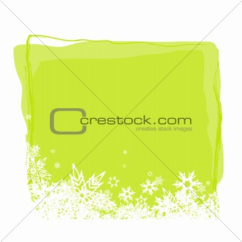 Green board for text with white snowflakes. Vector