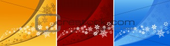 3 abstract backgrounds with snowflakes. Vector