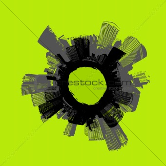 City in circle with green background. Vector art.
