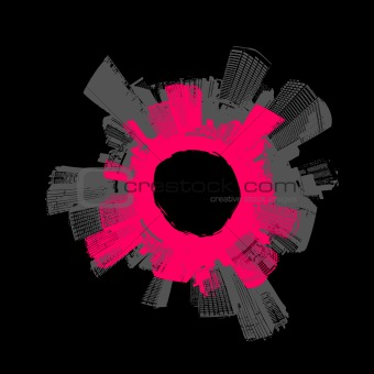 City in circle with pink background. Vector art.