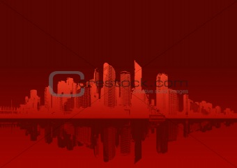 Cityscape on red background. Vector