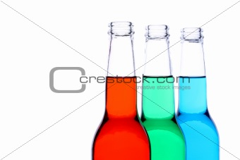 bottles red green blue isolated