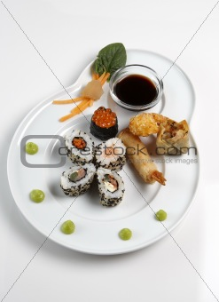 A Sushi platter isolated on a white background