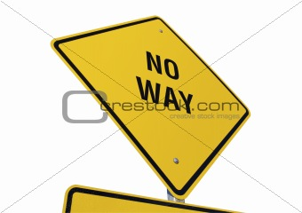 No Way road sign isolated.