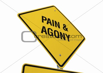 Pain & Agony road sign isolated.