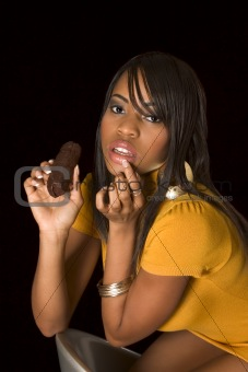 Black sexy girl with chocolate