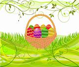 Easter egg in basket - vector