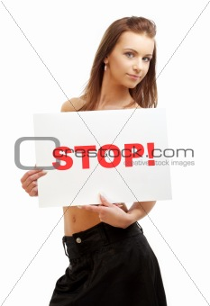 lovely girl holding stop board