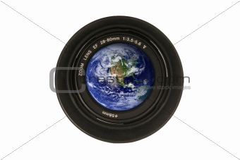 Camera lens with the earth in the glass