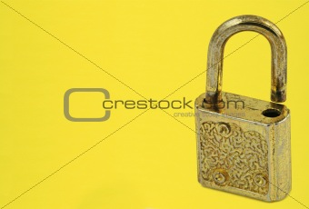 padlock on yellow