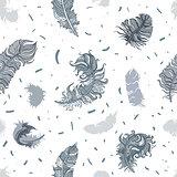 Feathers. Seamless pattern