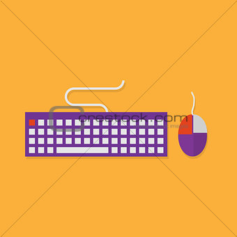 Flat icons of input devices. Keyboard and mouse