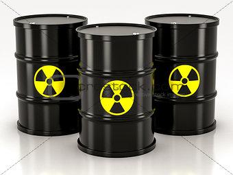 black radioactive barrel