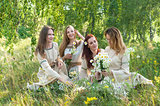 Beautiful women relaxing over nature background