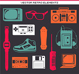 Retro 80 vintage elements set