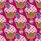Cream cake pink seamless pattern