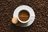 Still life - coffee wtih text America