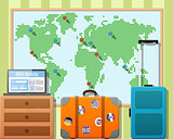 Travel Suitcases With Stickers And World Map
