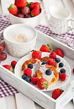 Cheese pancakes with fresh berries