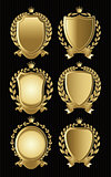 set of gold heraldic of nameplates for design