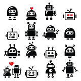 Male and female robot, Artificial Intelligence (AI) icons set