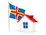 House with flag of aland islands