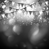 Party flags celebrate abstract background with confetti