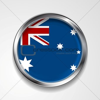 Abstract button with metallic frame. Australian flag