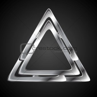Abstract metallic triangle logo design template
