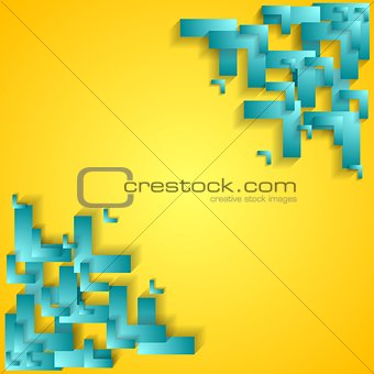 Corporate technology yellow background with cyan arrows