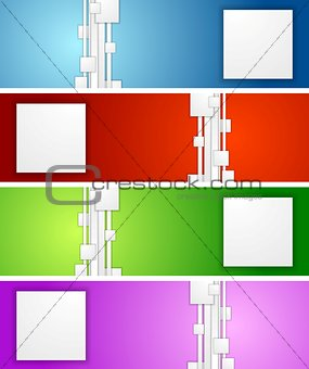 Bright geometric abstract vector banners