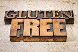 gluten free text in letterpress wood type