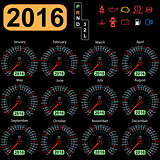 2016 year calendar speedometer car.  Vector illustration.