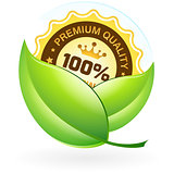 Premium Quality Label with Leaves