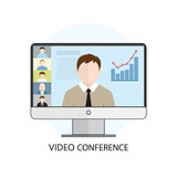 Flat design colorful vector illustration concept for video confe