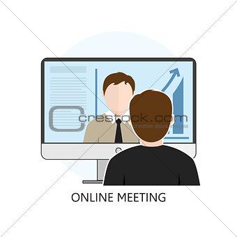 Flat design Colorful Vector Illustration Concept for Online Meet