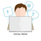 Flat Concept of Social Media - Vector Illustration