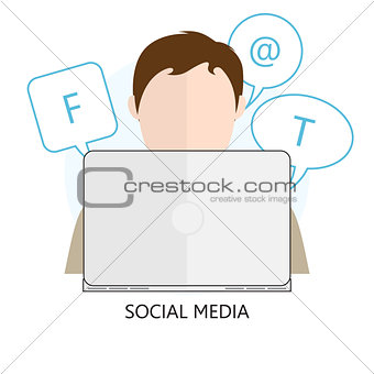 Flat Concept of Social Media - Vector Illustration