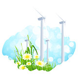 Abstract Background with Wind Power Plant and Flowers