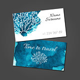 Business card with coral on blue watercolor stain