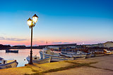 Sunset at the port of Sozopol town