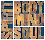 body, mind, soul and spirit in wood type