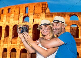Beautiful couple near the Coliseum