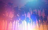 3D sunset palm trees with retro effect