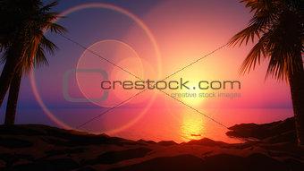 3D tropical island