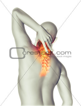 3D man holding neck in pain with fire effect
