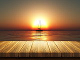 Wooden table with defocussed sunset sea image