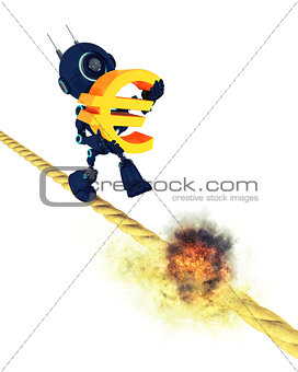 Android on a burning tight rope holding the Euro symbol